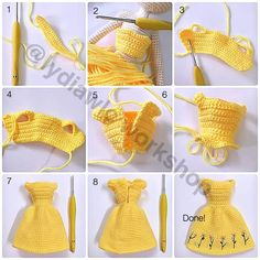Doll Dress – Dress for doll EN: Happy Sunday to all! A few days ago I happened to see this. Amigurumi doll dress photo tutorial (no text) crochet More Click Visit link above for more options Adding hair to your crochet doll - Salvabrani ru - Playing wit Crochet Doll Dress, Crochet Barbie Clothes, Crochet Doll Pattern, Knitted Dolls, Crochet Patterns, Crochet Skirts, Pattern Sewing, Crochet Ideas, Free Pattern