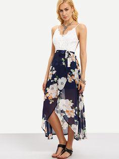 Spaghetti Strap Contrast Lace Wrap Florals Dress