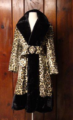 1970s leopard coat / vintage faux fur animal print coat / womens