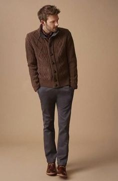 Men's Brown Knit Cardigan, Charcoal Chinos, Dark Brown Leather Desert Boots