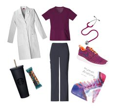 Medical School on Polyvore featuring Cherokee Scrubs, NIKE