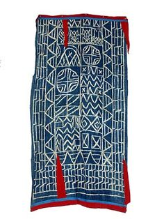 Bamileke Ndop Cloth, Cameroon | Resist-dyed indigo Ndop cloth is used by all the peoples of the Grasslands both as clothing and to demarcate royal ritual spaces.