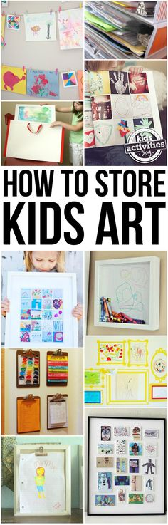 When my kids started school, I realized quickly that I was going to have to get very creative in finding ways to store kids art. Luckily, we found some adorable ways to not only store them, but to display them, too!