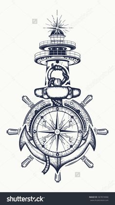 Anchor, steering wheel, compass, lighthouse, tattoo art. Symbol of maritime adventure, tourism, travel. Old anchor and lighthouse t-shirt design #UltraCoolTattoos