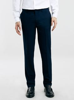 NAVY TEXTURED ULTRA SKINNY FIT TROUSERS