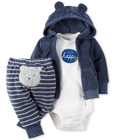 Crafted from soft, cozy material, Carter's three-piece terry hoodie, bodysuit and pants set for baby boy is oh-so comfy-while being mega-cute, too! | Hoodie and pants: cotton/polyester; bodysuit: cott