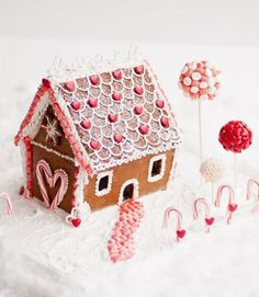 Add+curb+appeal+to+your+sugary+chalet+with+spherical+Seuss-like+plants+made+of+small+candies+perched+on+sticks. See+more+at+Lulu's+Sweet+Secrets+»  - GoodHousekeeping.com