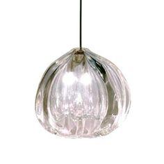 thick blown(?) glass pendant light