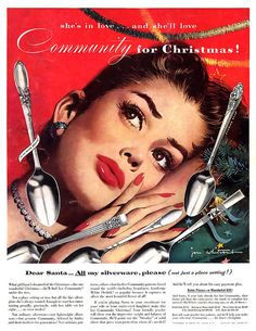 """If obsessively loving spoons is so wrong, I don't want to be right."" (Funny bad retro silverware ads)"