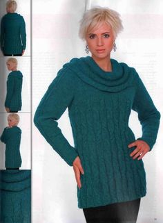 Blue Wide Collar Tunic free knitting graph pattern
