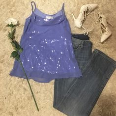 Beautiful draped purple chiffon over sequins top Beautiful purple tank with sequins and an organza overlay. It's a subtle sparkle with a very slight draped cowl neckline. Size medium! Kenar Tops