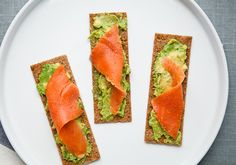 Smoked Salmon with Avocado on Rye Crackers by bonappetit #Salmon #Avocado  #Cleanse
