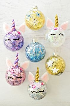 Nothing can beat homemade Christmas Ornaments & Christmas Crafts. Here are easy DIY Christmas Ornaments to make your Christmas Decorations feel personal. Unicorn Christmas Decoration, Unicorn Christmas Ornament, Unicorn Ornaments, Glitter Ornaments, Noel Christmas, Diy Christmas Ornaments, Homemade Christmas, Christmas Decorations Diy Cheap, Ball Ornaments