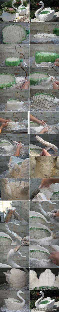 DIY Swan Pot Planter from plastic bottle