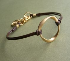Leather Bracelet - Golden Hoop