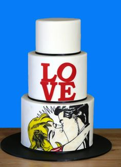 Hand-painted pop art wedding cake inspired by the artwork of Roy Lichtenstein & Robert Indiana. Contemplating Cakes  Jindabyne, New South Wales