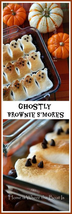Scare up some Ghostly Brownie S'mores for a Halloween treat. Watch them vanish before your very eyes! #smores #peepsonality #halloween