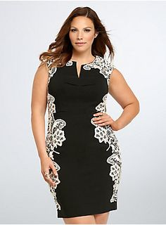 "<p>An LBD with a romantic feel. This black bodycon dress has a hint of stretch, but it maintains structure with a seamed bodice and subtle split neck and hem. Sheeny ivory lace cascades down the sides and shoulders of the dress, lending a Victorian-inspired feel.</p>  <p> </p>  <p><strong>Model is 5'9.5"", size 1</strong></p>  <ul> 	<li>Size 14 measures 38 1/2"" from shoulder</li> 	<li>Viscose/nylon/elastane</li> 	<li>Hand wash cold, dry flat</li> 	<li>Imported plus size ..."