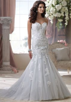 Mermaid styled gown with sweetheart neckline, beaded accents, and embellished lace I Style: 114293 I David Tutera for Mon Cheri I http://knot.ly/6496BIlQ6