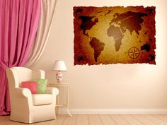 Living room wall decorlarge world map wall decal map fabric wall rustic world map fabric wall decal wall art by decalstyles on etsy gumiabroncs Image collections