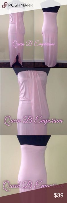 Long maxi empire waist Strapless Cocktail dress Stunning baby pink empire waisted flowing cocktail evening dress or for summer day outings. This dress is in size medium and large Any questions feel free to ask, and be sure to check out our other lovely outfits Instagram@queen_b_emporium Queen B Emporium Dresses Maxi