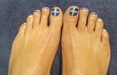 This week's #ManiPediMonday features a unique client #pedicure for her trip to Sweden. Our nail technician, Patience, did an amazing job!