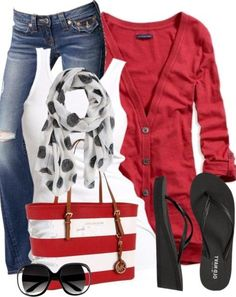 Swap the flipflops for a dressier black or white shoe, and this outfit is cute & patriotic for cool, casual summer nights