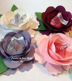 Jane's photo tutorial: Hersey Kiss Flowers made with Spiral Flower die and Blossom punch by Stampin' Up!