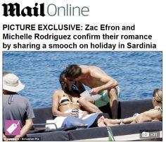Zac Efron e Michelle Rodriguez são fotografados aos beijos