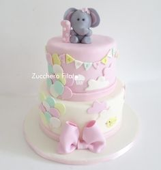 Baby elephant cake - baby girl first birthday cake