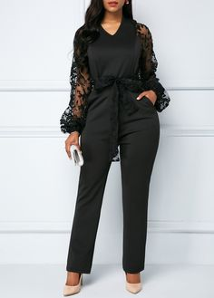 fb1adf09337 V Neck Black Belted Gauze Panel Jumpsuit