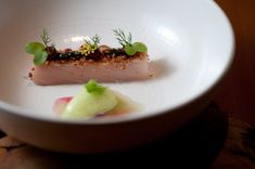 Smoked Hamachi Belly, Caviar, Lardo, Celery-Apple Sorbet, and Beet-Crustacean Broth