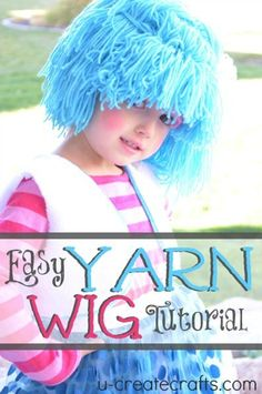 DIY Yarn Wig Tutorial at U-createcrafts.com  I could have made this for Carly for halloween!!