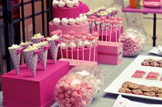 sweet table, pink and purple polka dots