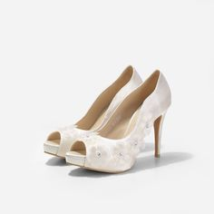 Dahlia Ivory Wedding Shoes, Ivory Chiffon Floral Pumps, Ivory Satin Wedding Heels, Satin Bridal Heels with Floral Chiffon Appliques by ChristyNgShoes on Etsy Blue Bridal Shoes, Satin Wedding Shoes, Bridal Heels, Wedding Heels, Ivory Wedding, Floral Pumps, Custom Made Shoes, Shoe Last, Shoe Clips