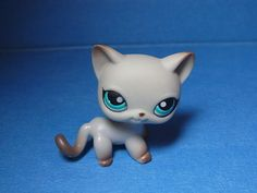 RARE Littlest Pet Shop #391 Siamese Around The World Cat Gray Grey w Teal Eyes | eBay