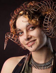 Curly Faun Ram Satyr horns headdress by AllThingsEcco on Etsy, $225.00