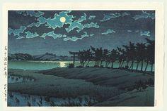 Hasui Kawase détail - Pleine lune à Hiroura, Hinuma 1946