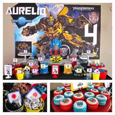 Transformers birthday party treats! See more party planning ideas at CatchMyParty.com!