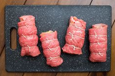 Classic German beef rolls stuffed with mustard, bacon, pickles, and onion. My favorite part is that most people already have all of these ingredients in their kitchen. Gluten-free and Paleo-friendly. Rouladen Recipe, Beef Rouladen, German Rouladen, Paleo Recipes, Real Food Recipes, Cooking Recipes, Yummy Food, Beef Dishes, Food Dishes