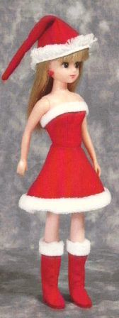 """Christmas Dress (Rika-chan) """"Papupepo"""" handmade clothing of how to make a dress-up doll Doll Dress Patterns, Barbie Patterns, Dress Up Dolls, Clothing Patterns, Barbie Clothes, Sewing Clothes, Little Miss Matched, Santa Outfit, How To Make Clothes"""