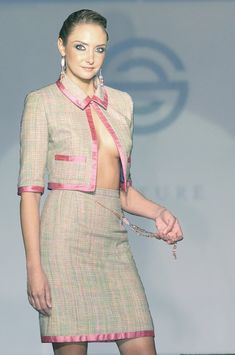 Pink And Green Womens Suit | Pink green lavender silk tweed skirt suit for women by SILHUETTE