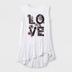 a2a0b24340a83b Miss Chievous Girls  Sleeveless Peplum Ruffle Tank Top - White XS