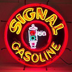 Unique Clock Works - Signal Gasoline, Neon Sign, Silkscreened Image, $349.00 (http://uniqueclockworks.com/neon-signs/gas-and-oil-neon/signal-gasoline-neon-sign-silkscreened-image/)