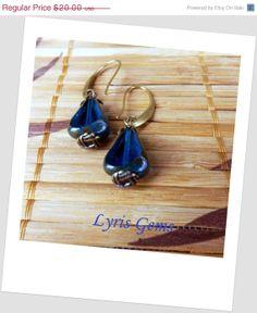 Blue Dangle Earrings  Czech Glass Picasso Earrings by lyrisgems, $18.20