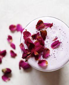 Iced rose tea latte