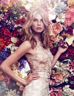Angela Lindvall plays flower girl in retro-inspired bohemian prints. Shot by Xavi Gordo for Elle Russia
