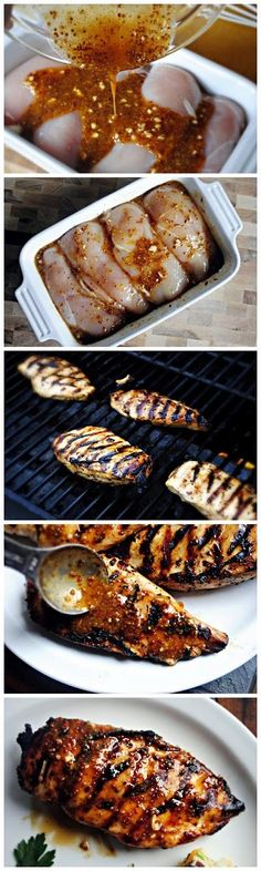 "Grilled Honey Mustard Chicken ""I have made this recipe a dozen times; whether a quick marinade then on the grill, marinade for a few hours then sear on a grill pan or in the oven… and every single time I make it I wonder how it could possibly be so dan I Love Food, Good Food, Yummy Food, Grilled Honey Mustard Chicken, Honey Chicken, Honey Mustard Chicken Marinade, Quick Marinade For Chicken, Baked Chicken, Gastronomia"