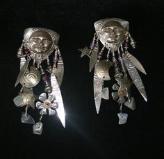 Tabra Moon Goddess Face Post Earrings Dare I Say STUNNING! Plus Free USA Shipping! by Route66Diner on Etsy