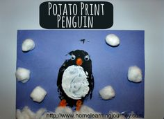 This potato print penguin craft is a super fun and cheap (if materials aren't already on hand) winter craft to do with your kids!  It turns out adorable!
